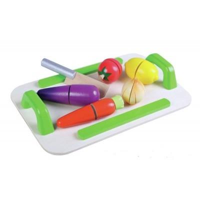 Ξύλινος Δίσκος Λαχανικών Με Μαχαίρι Κοπής