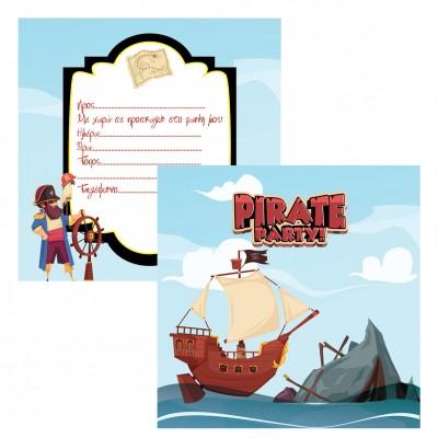 Προσκλήσεις Πάρτυ Pirate Ship 8τεμ.