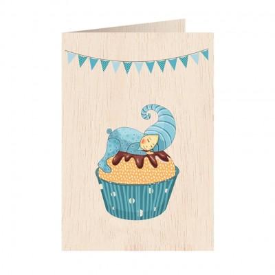 Ξύλινη Ευχετήρια Κάρτα Cupcake Blue