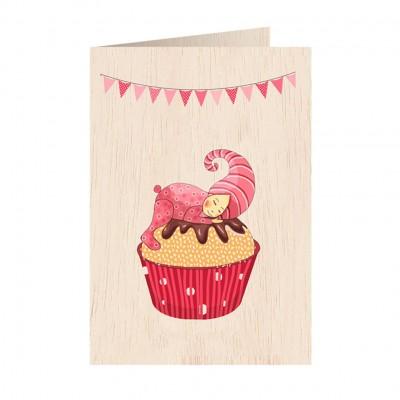 Ξύλινη Ευχετήρια Κάρτα Cupcake Pink
