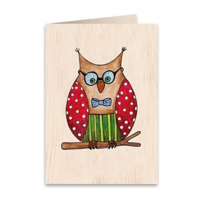 Ξύλινη Ευχετήρια Κάρτα Owlet