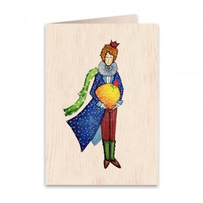 Ξύλινη Ευχετήρια Κάρτα Little Prince
