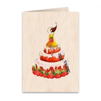 Ξύλινη Ευχετήρια Κάρτα Birthday Cake