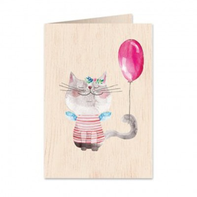 Ξύλινη Ευχετήρια Κάρτα Pussycat & The Balloon