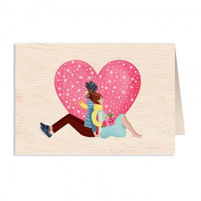 Ξύλινη Ευχετήρια Κάρτα Connecting Heart