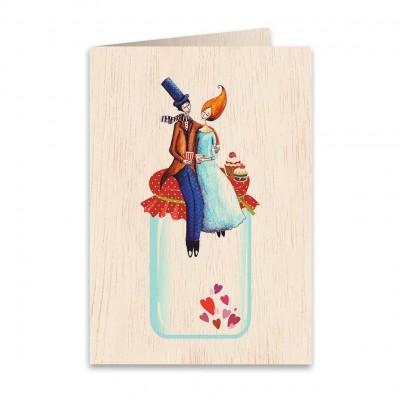 Ξύλινη Ευχετήρια Κάρτα Love Jar