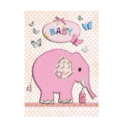 Ευχετήρια Κάρτα Baby Elephant Pink
