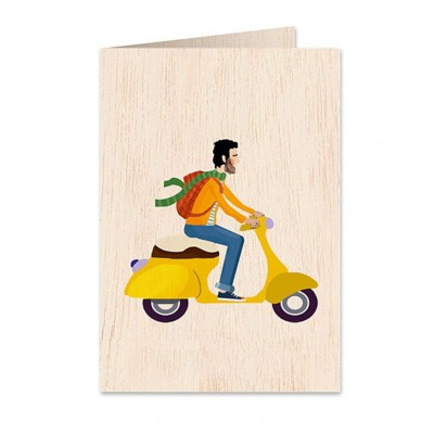 Ξύλινη Ευχετήρια Κάρτα Motorbike