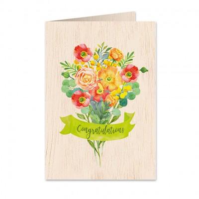 Ξύλινη Ευχετήρια Κάρτα Poppy Bouquet