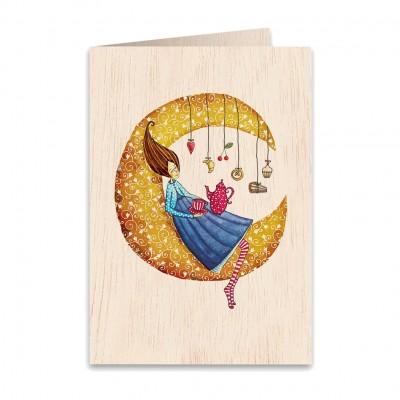 Ξύλινη Ευχετήρια Κάρτα Never Stop Dreaming