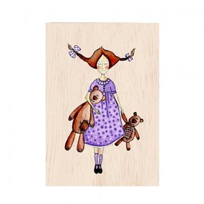 Ξύλινη Ευχετήρια Κάρτα Girl With Teddy